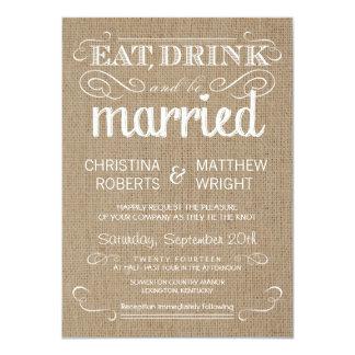 Leinwand-rustikale Land-Hochzeits-Einladungen 11,4 X 15,9 Cm Einladungskarte