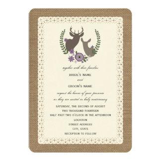 Leinwand + Spitze-inspirierter lila Blumendollar + Individuelle Ankündigungskarte