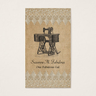 Leinwand-Spitze-Vintage Nähmaschine Visitenkarte