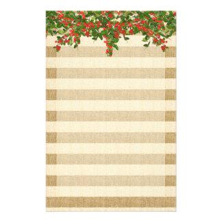 Leinwand-Streifen und WeihnachtenYaupon Stechpalme Briefpapier