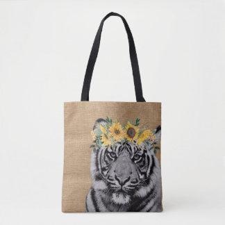 Leinwand-Tiger-Schwarz-weiße Tasche
