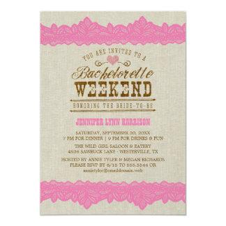 Leinwand u. rosa Spitze Bachelorette 12,7 X 17,8 Cm Einladungskarte