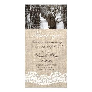Leinwand u. Spitze-Hochzeit danken Ihnen Foto Karten Vorlage