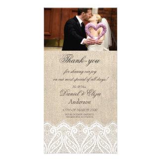 Leinwand u. Spitze-Hochzeit danken Ihnen Fotokarte