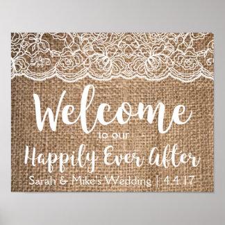 Leinwand-u. Spitze-Hochzeits-Zeichen glücklich Poster