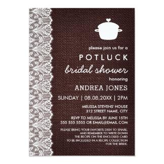 Leinwand u. Spitze Potluck Brautparty 12,7 X 17,8 Cm Einladungskarte