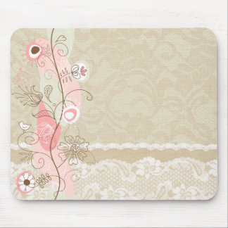 Leinwand-u. Spitze-rosa abstrakte Blumen Mauspad