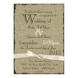 Leinwand und Bogen-rustikale Hochzeit 12,7 X 17,8 Cm Einladungskarte