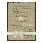 Leinwand und Bogen-rustikale Hochzeit 14 X 19,5 Cm Einladungskarte