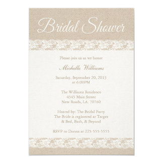 Leinwand und schnürt sich | Brautparty 12,7 X 17,8 Cm Einladungskarte