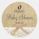 Leinwand-und Spitze-Bild-Baby Dusche-Bevorzugung Runde Aufkleber