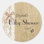 Leinwand-und Spitze-Bild-Baby Dusche-Bevorzugung Runder Aufkleber