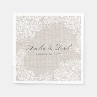 Leinwand und Spitze-Hochzeit Serviette