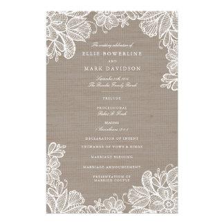 Leinwand-und Spitze-Hochzeits-Programme Flyer