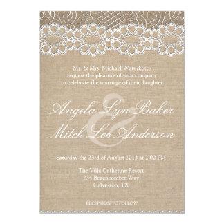 Leinwand und Vintage Spitze-Shabby Chic-Hochzeit Einladungskarte