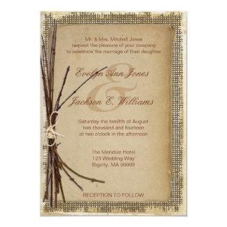 Leinwand, Zweige und Schnur, die ID132 Wedding Karte