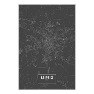 Leipzig, Deutschland (weiß auf Schwarzem) Poster
