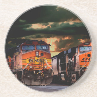 Leistungsfähige Lokomotiven bereit zu schleppen Getränkeuntersetzer
