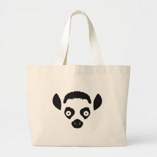 Lemur-Gesichts-Silhouette Jumbo Stoffbeutel