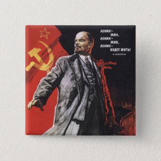 Lenin Quadratischer Button 5,1 Cm