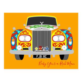 Lennons klassisches psychedelisches Limousinenauto Postkarte