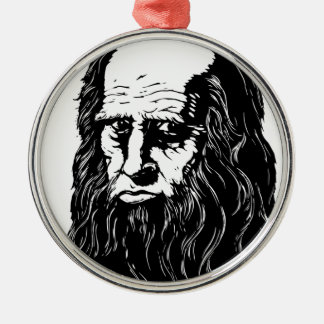 Leonardo da Vinci - Porträt Silbernes Ornament