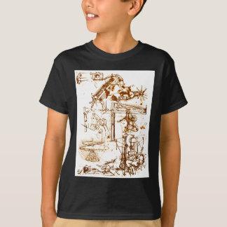 Leonardo da Vinci skizzierte schwarze T - Shirts