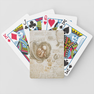 Leonardo da Vinci-Studien des Fötusses in der Bicycle Spielkarten