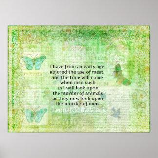 Leonardo da Vinci Tierrechte zitieren veganes Poster