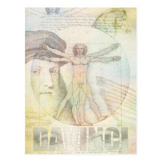 Leonardo da Vinci Vitruvian Mann-Collage Postkarte