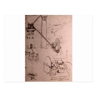 Leonardo da Vinci, Zeichnungen der Maschinen Postkarte