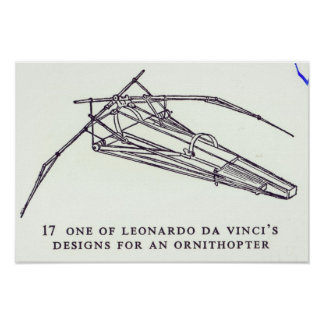 Leonardo da Vincis Entwürfe für ein Ornithopter Poster