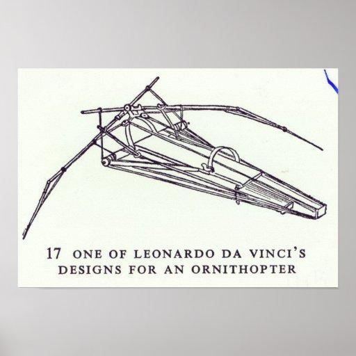 Leonardo da Vincis Entwürfe für ein Ornithopter Posterdrucke