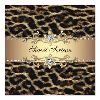 Leopard-16. Geburtstag-Geburtstags-Party Quadratische 13,3 Cm Einladungskarte