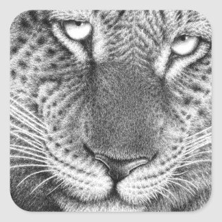Leopard-Aufkleber Quadratischer Aufkleber