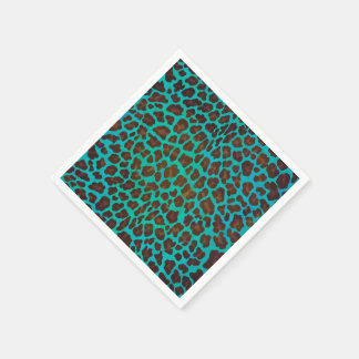 Leopard Brown und aquamariner Druck Papierserviette
