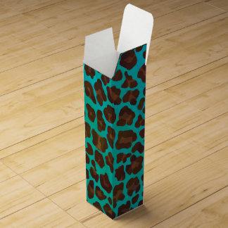 Leopard Brown und aquamariner Druck Wein-Geschenkverpackung