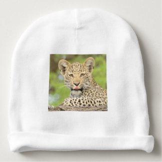 Leopard CUB mit einem HaltungBeanie Babymütze