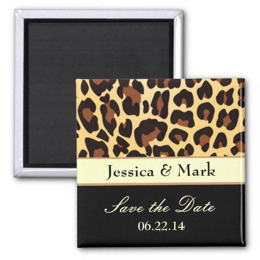 Leopard-Damast retten Datums-Hochzeits-Magneten Quadratischer Magnet