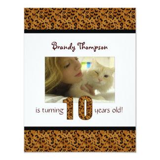 Leopard-Druck: 10. Geburtstags-Einladung 10,8 X 14 Cm Einladungskarte