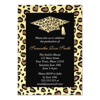 Leopard-Druck-Abschluss-Party 12,7 X 17,8 Cm Einladungskarte