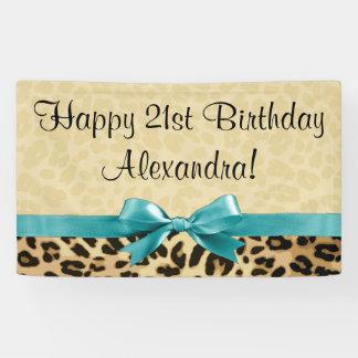 Leopard-Druck-Aqua-der Geburtstag der blauen Banner