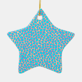 Leopard-Druck-Blau auf Gelb Keramik Ornament