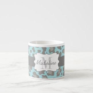 Leopard-Druck-blaue und graue Espresso-Tasse Espressotasse