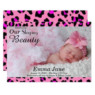 Leopard-Druck-Foto - Geburts-Mitteilung 12,7 X 17,8 Cm Einladungskarte