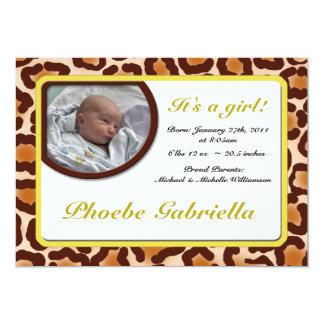 Leopard-Druck-Gelb-Geburts-Mitteilungen 12,7 X 17,8 Cm Einladungskarte