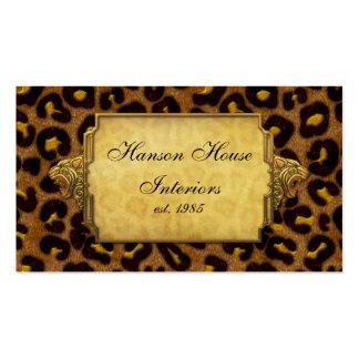 Leopard-Druck-Goldleopard-Köpfe Visitenkartenvorlage
