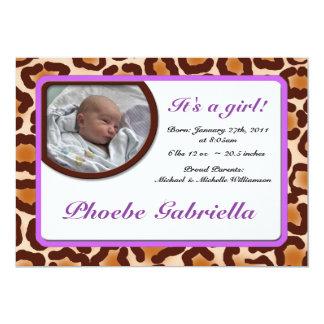 Leopard-Druck-lila Geburts-Mitteilungen 12,7 X 17,8 Cm Einladungskarte