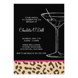 Leopard-Druck-Martini-Geburtstags-Einladungen