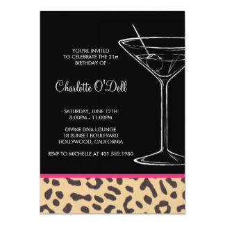 Leopard-Druck-Martini-Geburtstags-Einladungen 12,7 X 17,8 Cm Einladungskarte